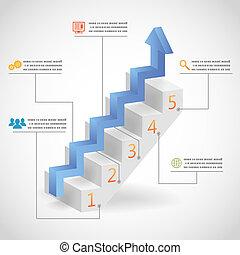 infographic, concept, reussite, escalier, icônes, illustration, vecteur, étapes, flèche