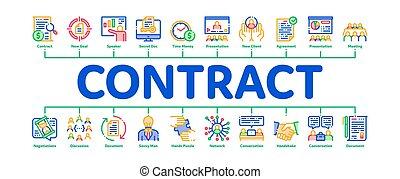 infographic, contrat, bannière, vecteur, minimal