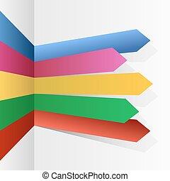 infographic, couleur, flèches, raies, vecteur, template.