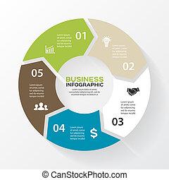 infographic., diagramme, concept, processes., business, parties, résumé, flèches, graphique, ou, chart., arrière-plan., vecteur, 5, gabarit, étapes, cercle, présentation, options