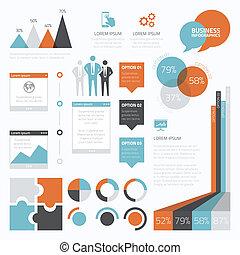 infographic, ensemble, e, retro, business