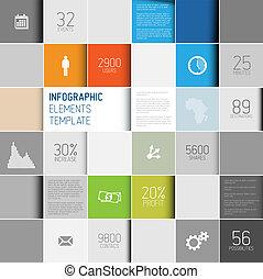 infographic, fond, résumé, illustration, vecteur, /, gabarit, carrés