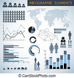 infographic, grand, vecteur, ensemble, éléments