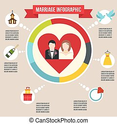 infographic, mariage, mariage