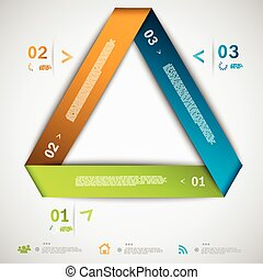 infographic, papier, triangle, gabarit