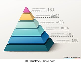 infographic, pyramide, icons., business, nombres