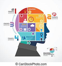 infographic, tête, concept, puzzle, illustration, vecteur, gabarit, bannière
