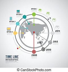 infographic, timeline, vecteur, conception, mondiale, template.
