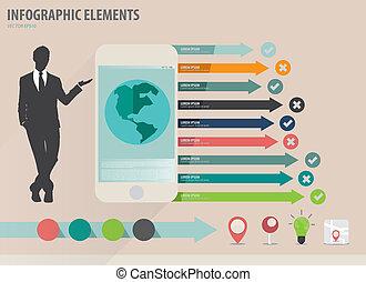 infographic, touchscreen, coloré, projection, -, illustration, papier, vecteur, conception, gabarit, infographics, appareil, homme affaires, gabarit