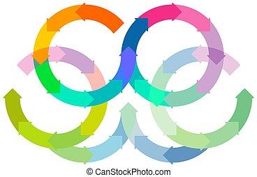 infographic, vecteur, cercle, tourner, ensemble, arrière-plan., -, coloré, blanc, illustration.eps, flèches