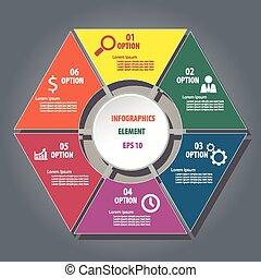 infographics, hexagone, concevoir élément