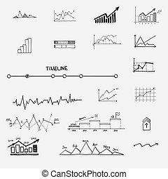 infographics, recherche, statistiques, finance, business, profit, argent, -, flèches, graphique, main, diagramme, concept, revenus, griffonnage, dessiné, elements., signes