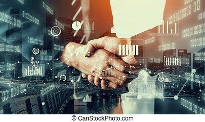 infographie, poignée main, données, imaginatif, investissement, visuel, business