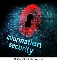 information, écran, numérique, sécurité, empreinte doigt