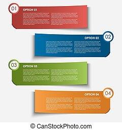 information, étiquettes, conception, options, élément
