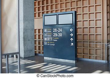 information, aéroport, planche