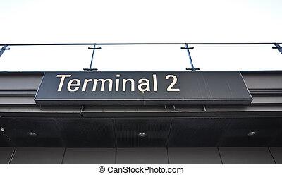 information, aéroport, portail, signe