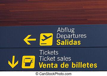 information, aéroport, signes
