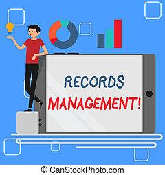 information, concept, texte, penchant, tourné, idée, côté, disques, signification, smartphone, graphique, icon., vide, écriture, documented, administration, sien, management., homme