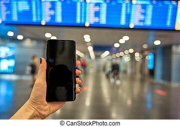 information, contre, main, planche, fond, smartphone, aéroport