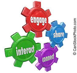 information, engager, interagir, part, relier, mots, engrenages