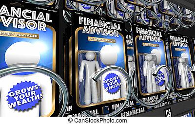 information, financier, argent, conseil, conseillers, illustration, investissement, 3d
