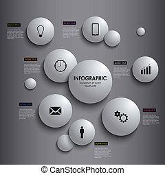 information, graphique, affiche, résumé, élément, gabarit, blanc, rond