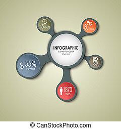 information, graphique, business, résumé, gabarit, rond