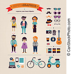 information, graphique, icônes, concept, hipster, fond