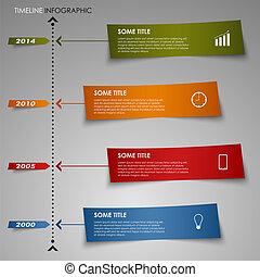 information, graphique, papier coloré, gabarit, ligne temps, rayé