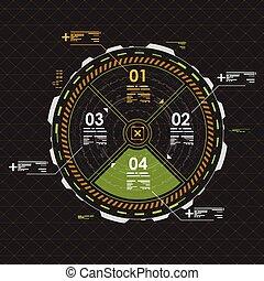 information, hud, graphique, elements., interface utilisateur, futuriste