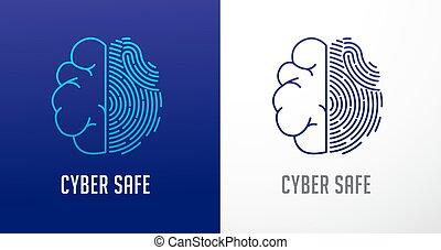information, intimité, réseau, balayage, cyber, cerveau, vecteur, protection., humain, empreinte doigt, icône, sécurité, logo, icône