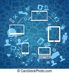 information, moderne, sans fil, gadgets, fransfer, travers