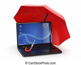 information., ordinateur portable, protection, parapluie