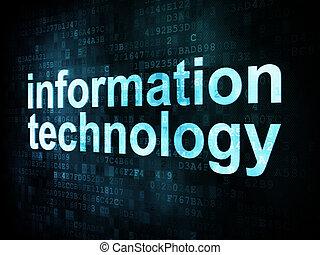 information, render, écran, pixelated, mots, technologie numérique, concept:, 3d