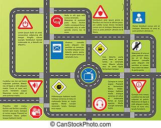 information, routes, élégant, graphique, signes