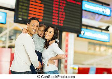 information, vol, famille, jeune, aéroport, planche, devant