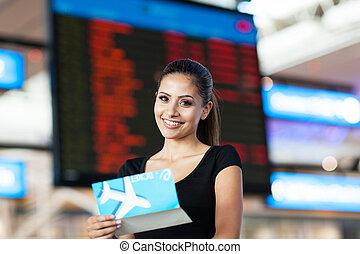 information, vol, femme affaires, air, aéroport, séduisant, devant, billet, planche
