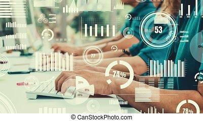 informatique, business, bureau, gens, fonctionnement, créatif, visuel