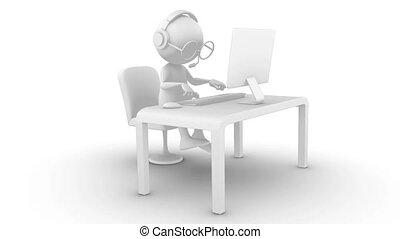 informatique, caractère, 3d, dactylographie
