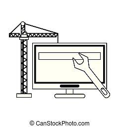 informatique, construction, noir, clé, grue, blanc