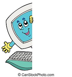 informatique, dessin animé, observer