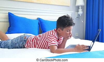 informatique, enfant, ordinateur portable, utilisation