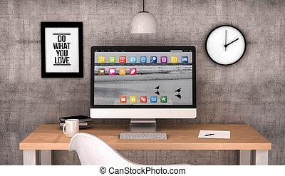 informatique, espace de travail, bureau