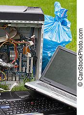 informatique, herbe, déchets