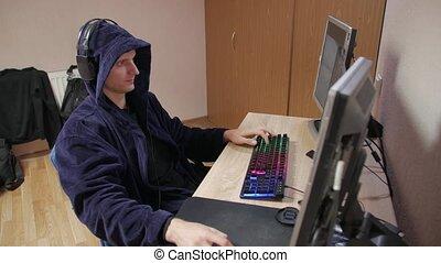 informatique, homme, jouer