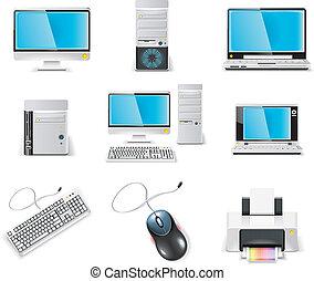 informatique, icon., vecteur, blanc