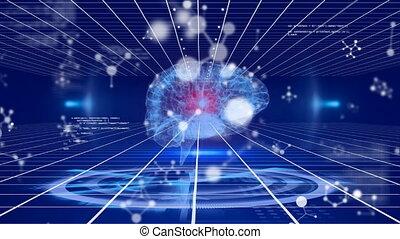 informatique, numérique, humain, fond, sur, cerveau, 3d