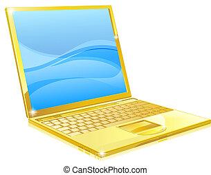 informatique, or, ordinateur portable