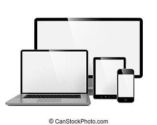 informatique, ordinateur portable, téléphone.